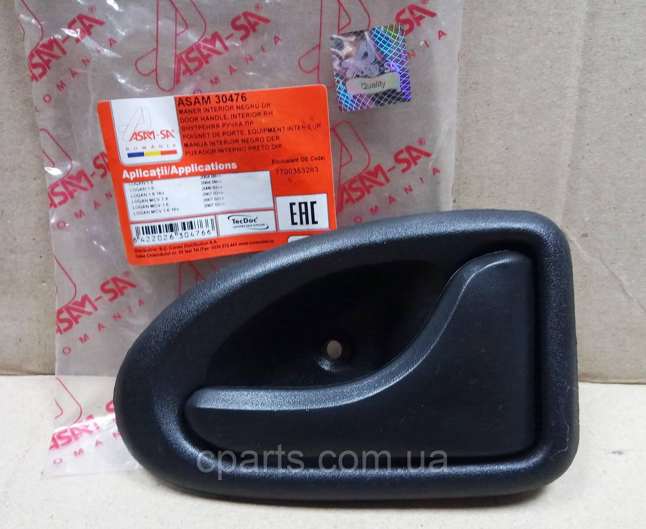 Ручка двери внутренняя правая Dacia Logan (Asam 30476)(среднее качество)
