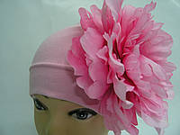 Шапочка розовая с розовым пионом 20 см