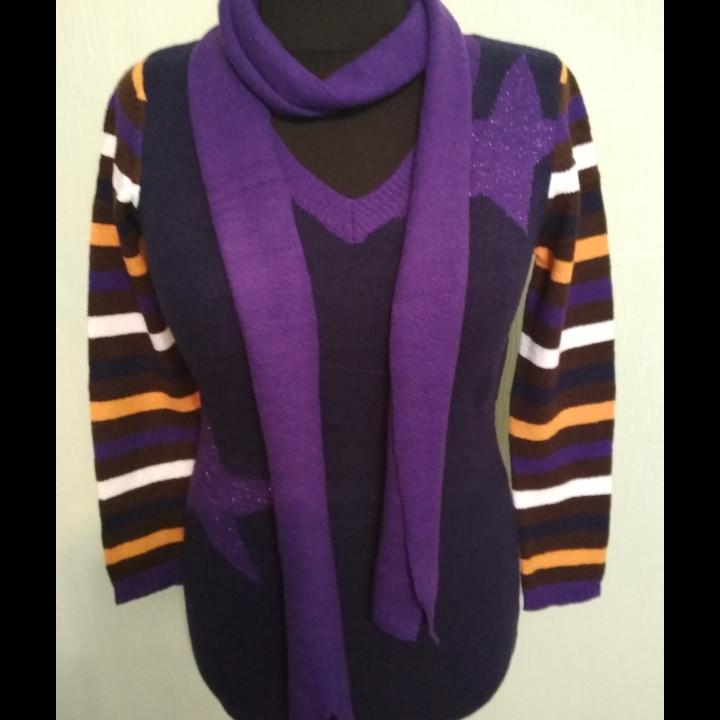 Кофта-туника женская с шарфиком размер 48-50