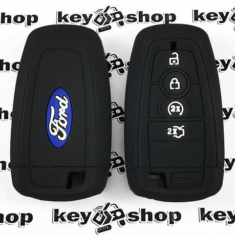 Чохол (чорний, силіконовий) для смарт ключа Ford (Форд) 4 кнопки, фото 2