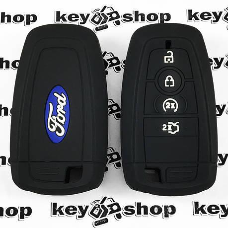 Чехол (черный, силиконовый) для смарт ключа Ford (Форд) 4 кнопки, фото 2