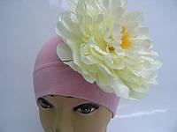Шапочка розовая с белым пионом 18 см