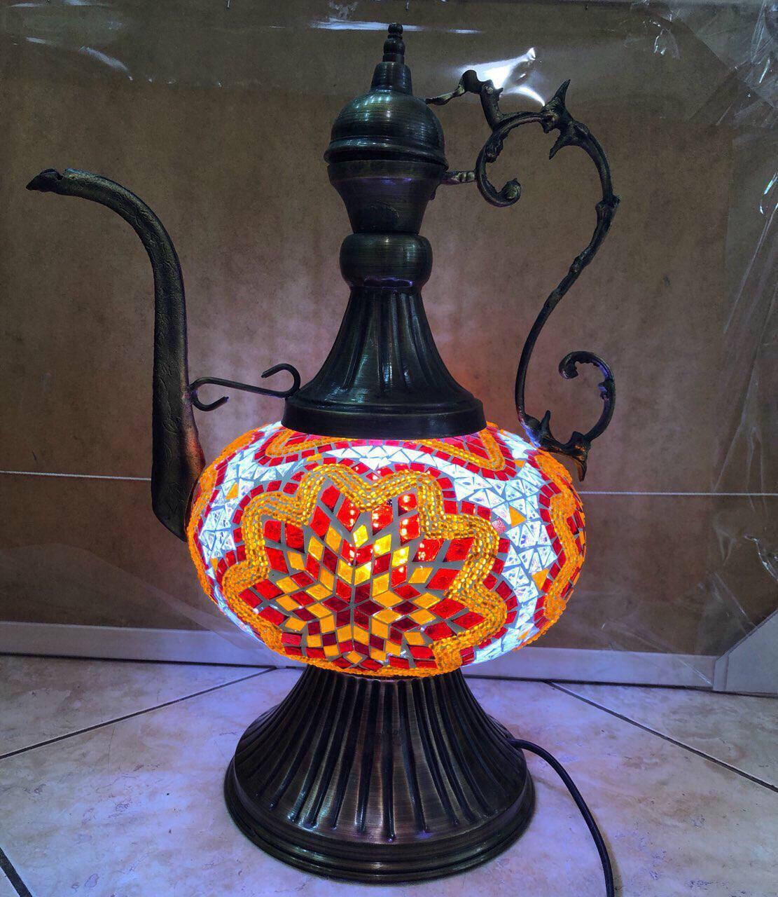 Настольный турецкий светильник большая лампа Алладина Sinan из мозаики ручной работы 50 см