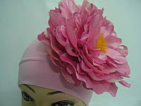 Шапочка розовая с розовым пионом 18 см