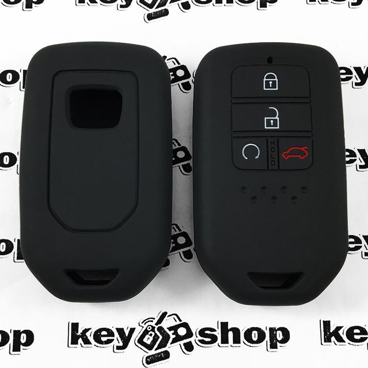Чехол (черный, силиконовый) для смарт ключа Honda (Хонда) 4 кнопки