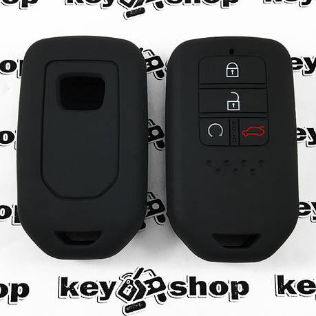 Чехол (черный, силиконовый) для смарт ключа Honda (Хонда) 4 кнопки, фото 2