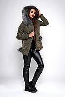 Зимняя женская молодежная куртка. Код модели К-126-36-19. Цвет хаки.