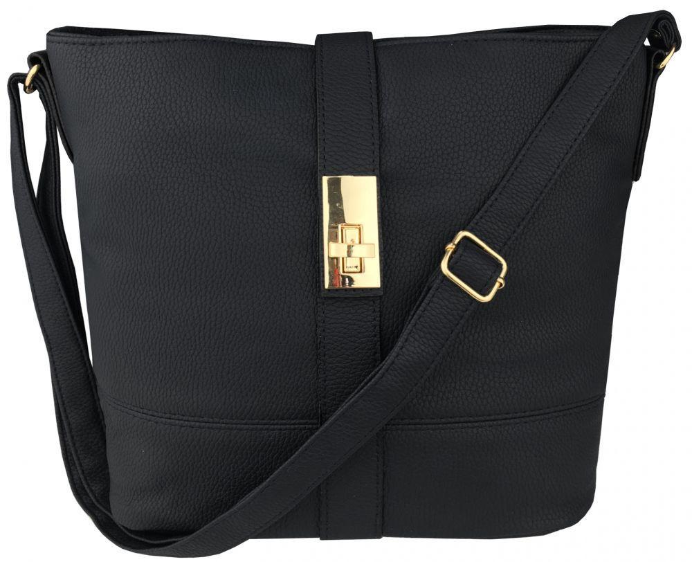 Модная черная женская сумка на плечо на длинном ремешке пр. Польша FB215