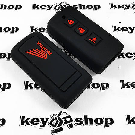 Чохол (чорний, силіконовий) для мото ключа Honda (Хонда) 3 кнопки, фото 2