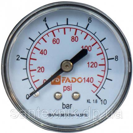 Манометр FADO фронтальный 1/4 10 бар, фото 2