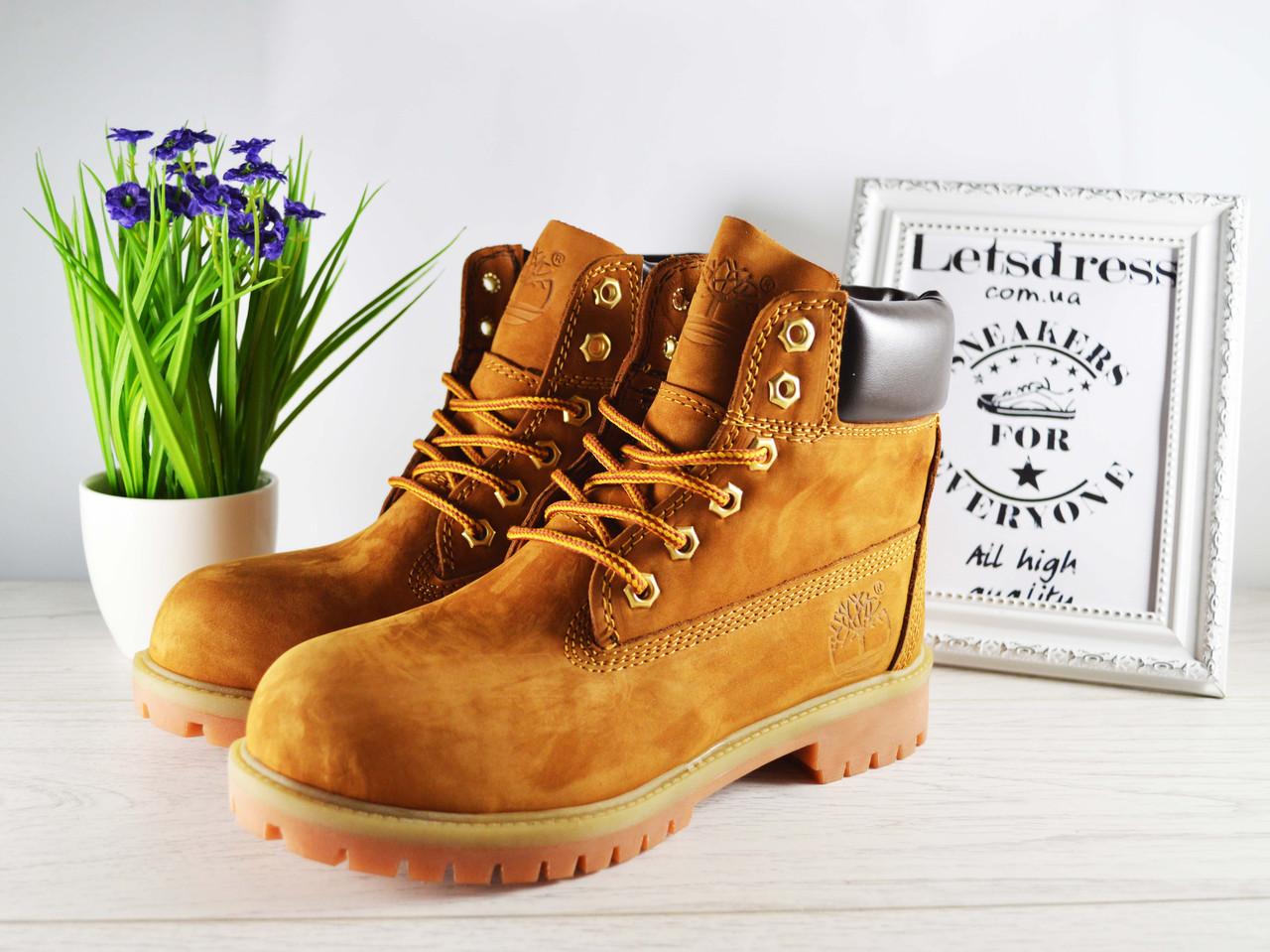 c9b0863a Женские ботинки Timberland кожаные Тимберленд бежевые, коричневые