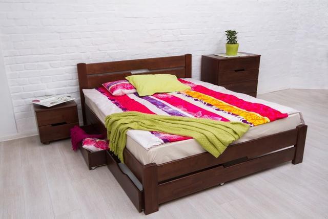 Кровать двуспальная Айрис с ящиками (темный орех)