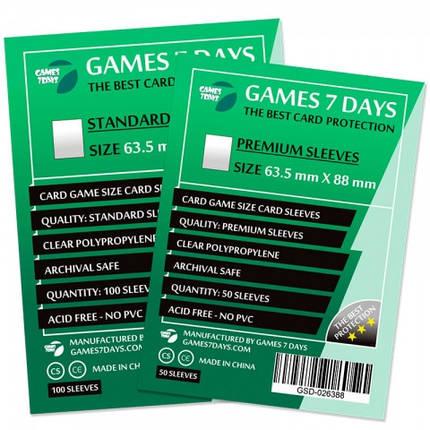 Протекторы для карт Games 7 Days 100 шт. (63.5 х 88 мм) Standard Quality, фото 2