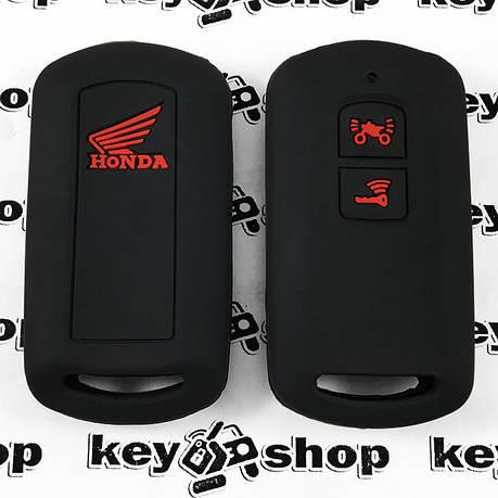 Чехол (черный, силиконовый) для мото ключа Honda (Хонда) 2 кнопки, фото 2