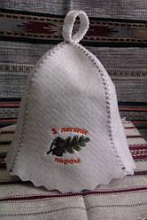 Шапка для сауни та бані з вишивкою
