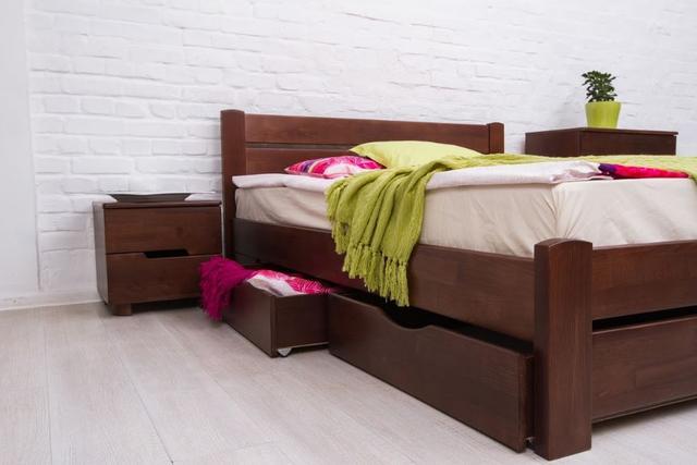 Кровать двуспальная Айрис с ящиками (выдвижные ящики, орех темный)