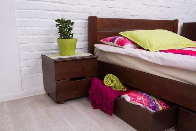 Кровать двуспальная Айрис с ящиками (выдвижные ящики, орех темный, фото 2)