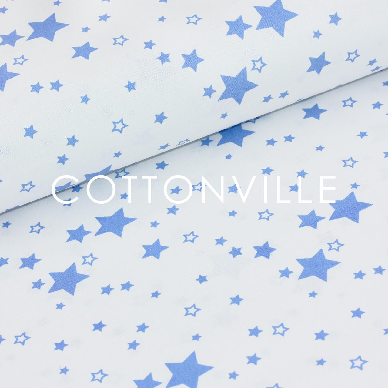 Бязь Звездочки темно-голубые на белом