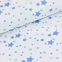 Бязь Звездочки темно-голубые на белом, фото 1