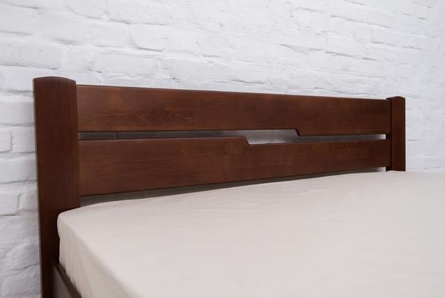 Кровать двуспальная Айрис с ящиками (изголовье, орех темный)