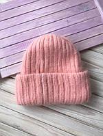 Модная женская шапка вязаная из ангоры с большим отворотом, зимняя шерстяная шапочка