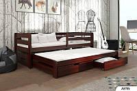 Кровать детская деревянная Летти с дополнительным выдвижным спальным местом, фото 1