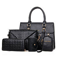 Женская сумка черная набор 5в1 из экокожи, фото 1