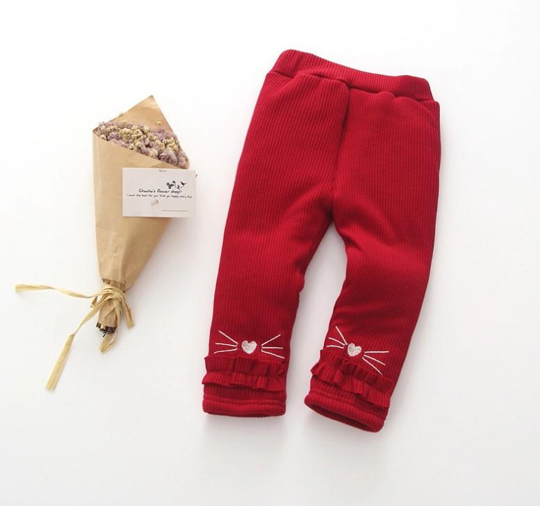Штаны лосины детские утепленные на девочку зима синтепон+плюш красные