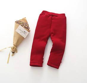 Штаны лосины детские утепленные на девочку зима синтепон+плюш красные, фото 2