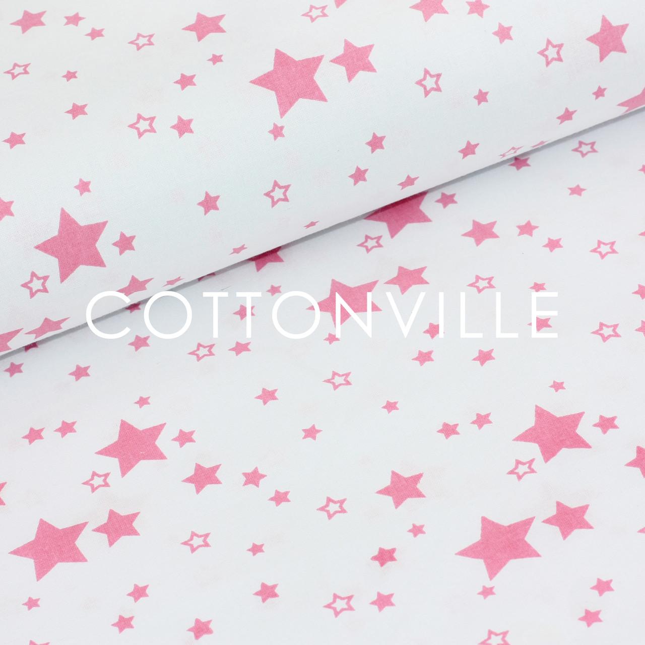 Бязь Звездочки ярко-розовые на белом