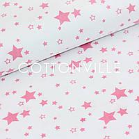 Бязь Звездочки ярко-розовые на белом, фото 1