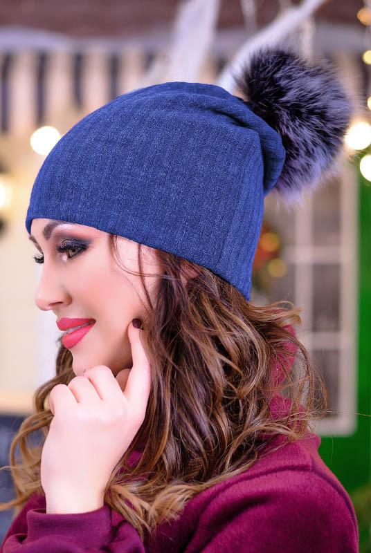 Синяя шапка с бубоном Римель