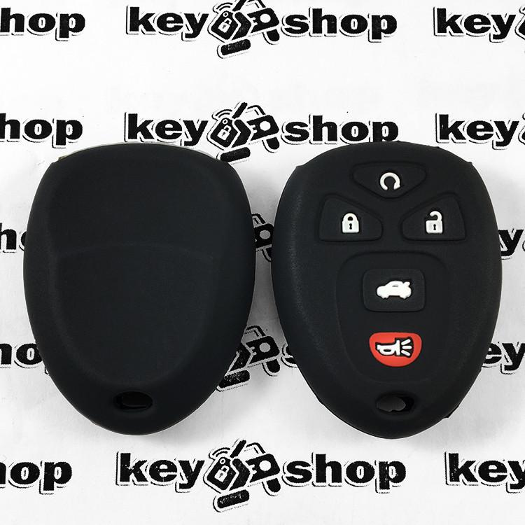 Чехол (черный, силиконовый) для пульта GMC, Hummer (ДжиЭмСи, Хаммер) 4+1 кнопки