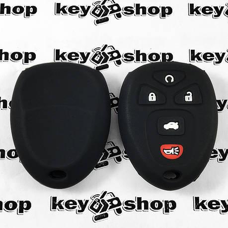 Чехол (черный, силиконовый) для пульта GMC, Hummer (ДжиЭмСи, Хаммер) 4+1 кнопки, фото 2