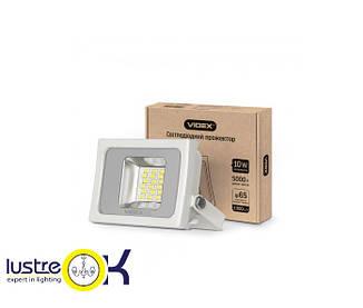 LED прожектор 10W 5000K 220V белый корпус VIDEX PREMIUM