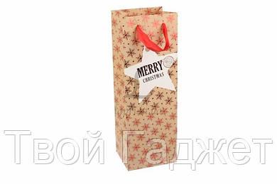 ОПТ/Розница Новогодний подарочный пакет под бутылку (Цена за 4 вида,12 шт)