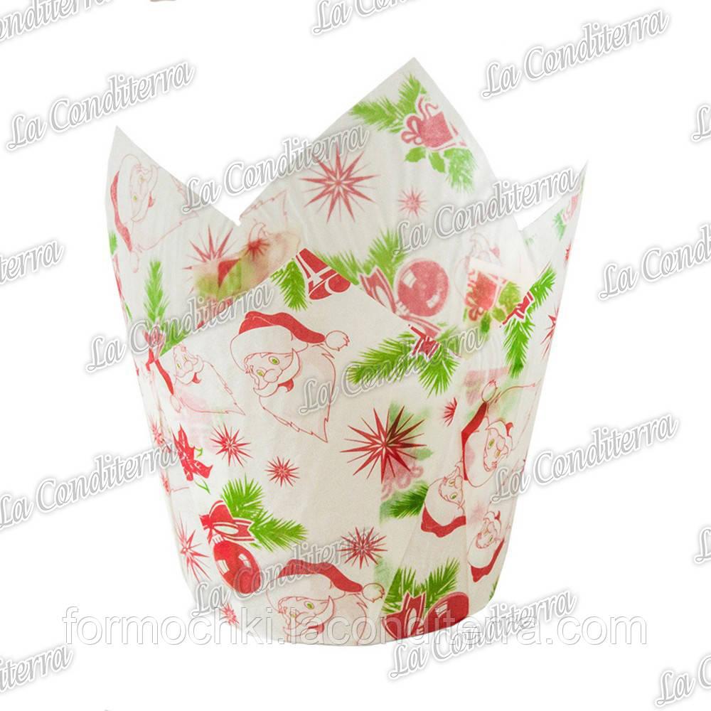 """Паперові формочки-тюльпани для кексів """"Санта-Клаус"""" ТЛ-160 (діаметр - 60 мм, висота бортика - 55/82 мм), 1"""