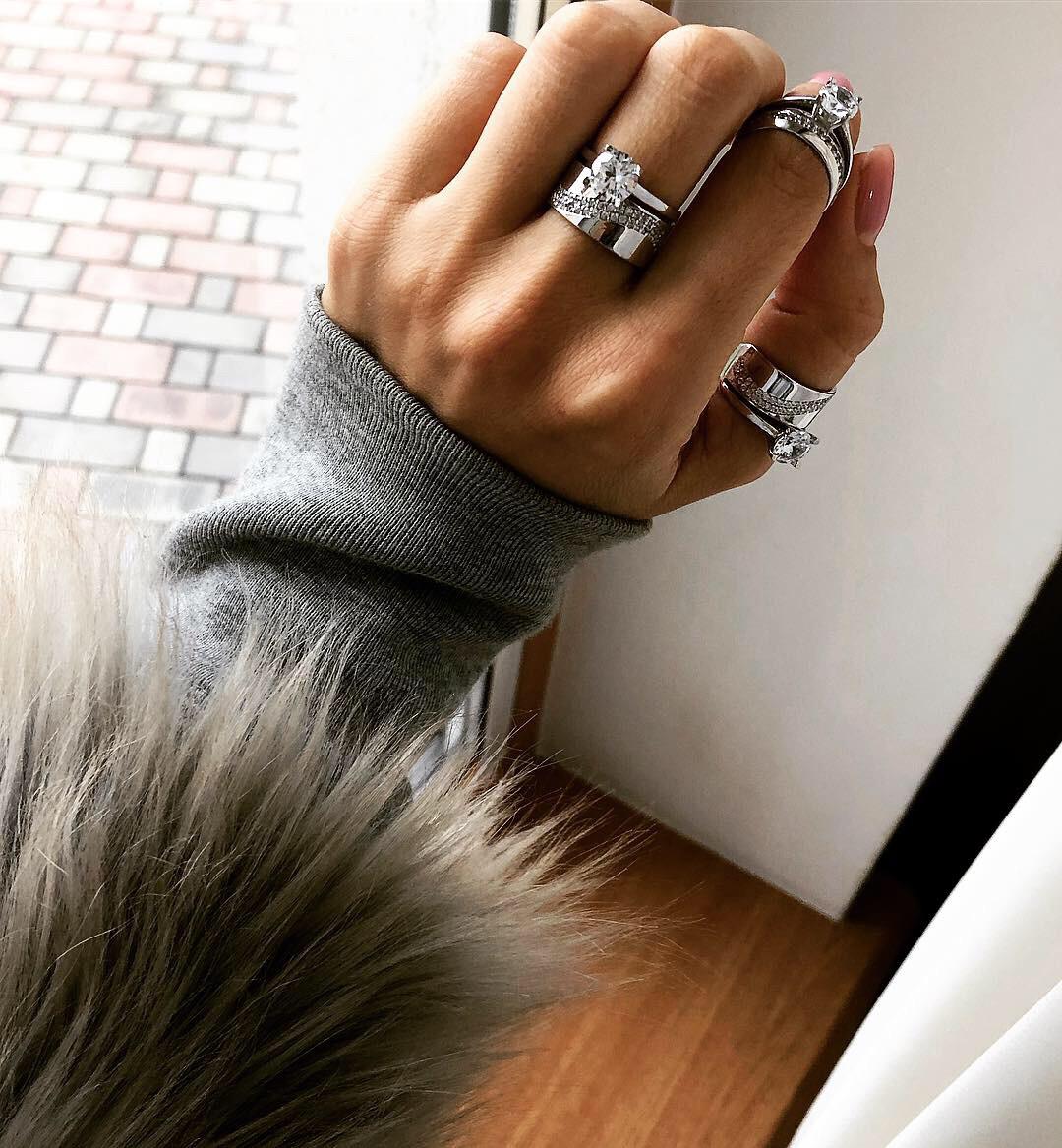 Кольцо Мої прикраси из серебра с куб. цирконами двойное (размеры с 17,5 по 19)