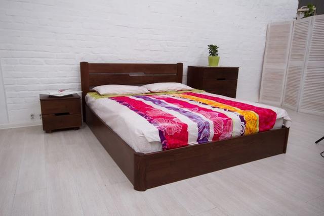 Кровать полуторная Айрис с подъемным механизмом (темный орех)