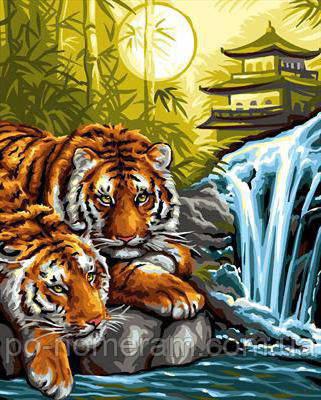Алмазная вышивка Алмазная мозаика Тигры на отдыхе (DM-285) 40 х 50 см (Без подрамника)