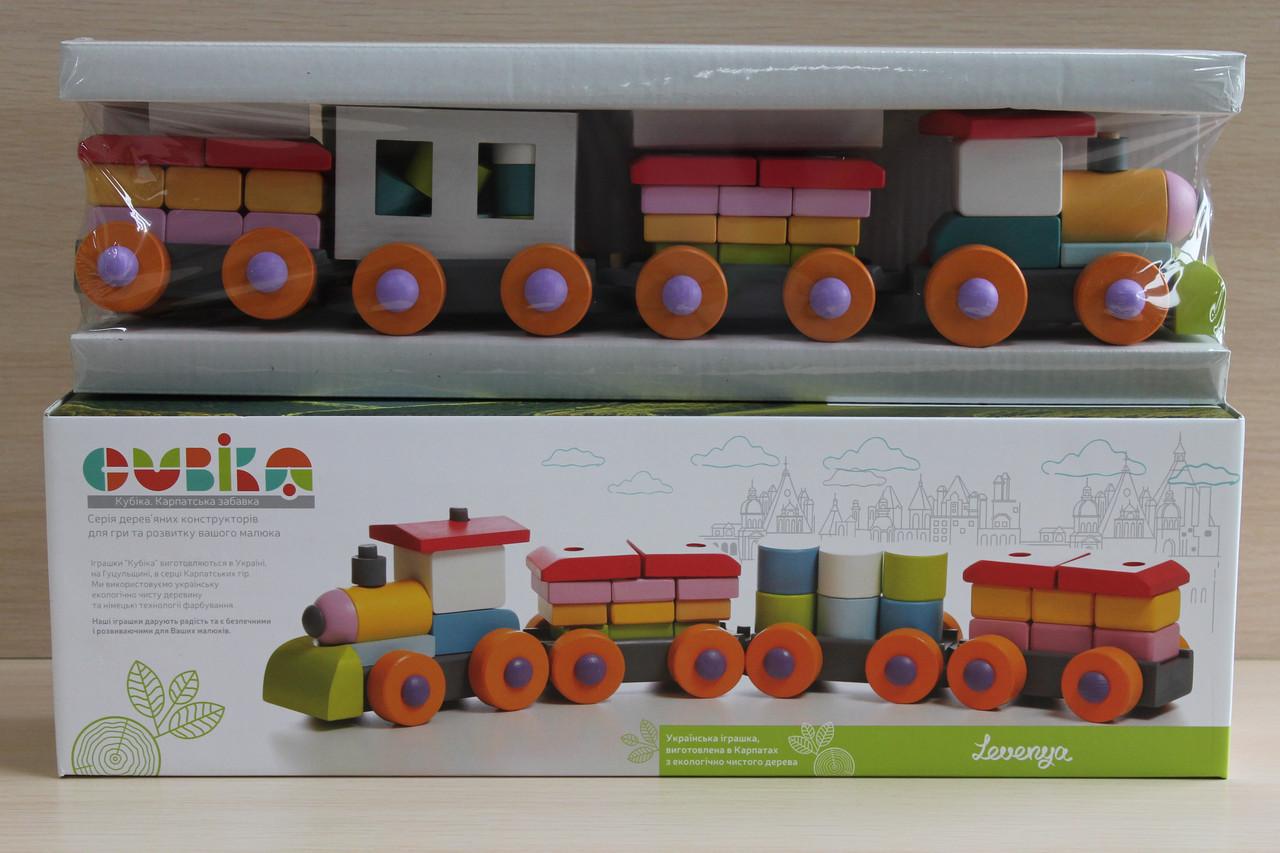 11681 Деревянный конструктор поезд с вагончиками размер 51*16*10 см