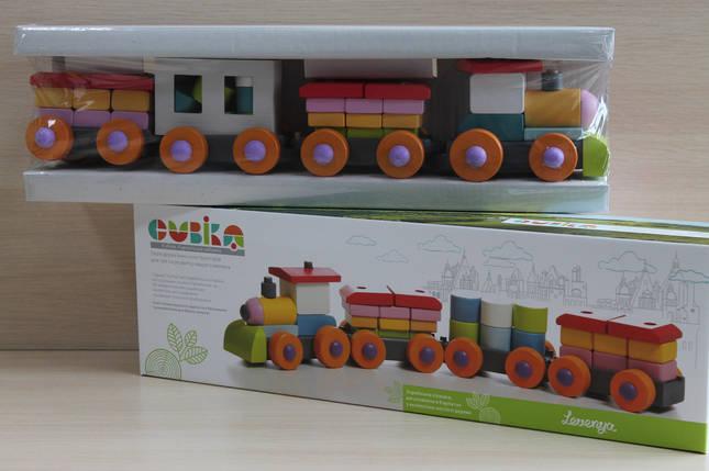 11681 Деревянный конструктор поезд с вагончиками размер 51*16*10 см, фото 2