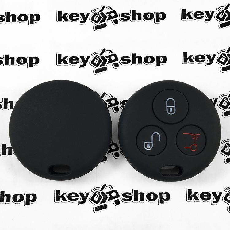 Чехол (черный, силиконовый) для авто ключа Mercedes Smart (Мерседес Смарт) 3 кнопки