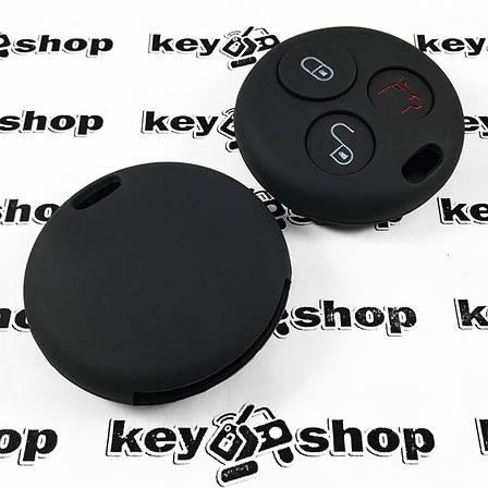 Чехол (черный, силиконовый) для авто ключа Mercedes Smart (Мерседес Смарт) 3 кнопки , фото 2
