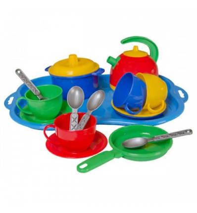 1400 Игровой набор детской посудки Маринка 7 пластик Технок, фото 2