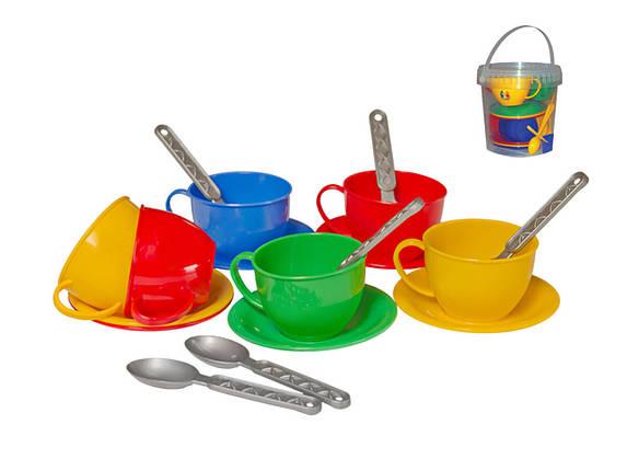 "0083 Игровой набор детская посудка ""Чайний сервіз"" (в відерку) Технок, фото 2"