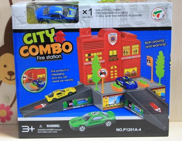 1201A-4 Набор парковка гараж Пожарная станция и машинка для детей 3+