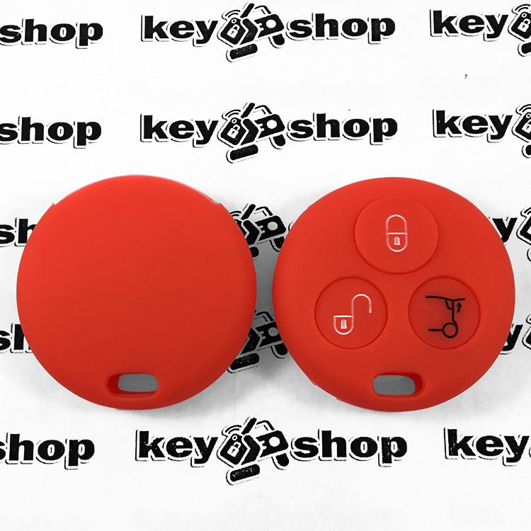 Чехол (красный, силиконовый) для авто ключа Mercedes Smart (Мерседес Смарт) 3 кнопки