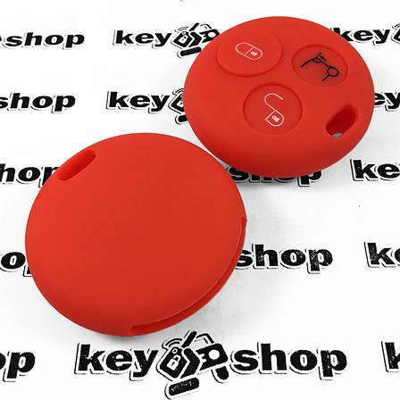Чехол (красный, силиконовый) для авто ключа Mercedes Smart (Мерседес Смарт) 3 кнопки , фото 2