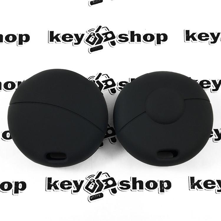 Чехол (черный, силиконовый) для авто ключа Mercedes Smart (Мерседес Смарт) 1 кнопки